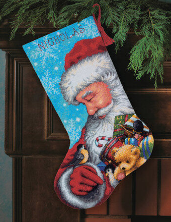 Dimensions Santa And Toys Christmas Stocking - Needlepoint Kit 71-09145 - 123Stitch.com