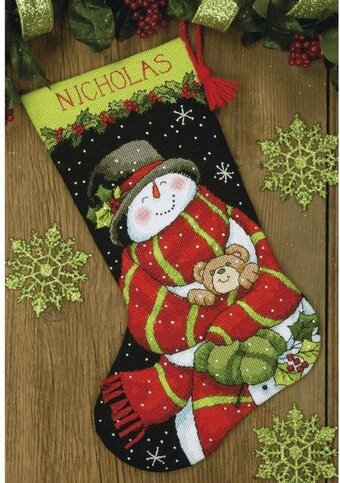 Dimensions Snowman and Bear Christmas Stocking - Needlepoint Kit ...