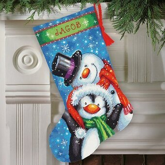 polar pals christmas stocking needlepoint kit by dimensions these smiling snowman and penguin friends bring out the kid in everyone