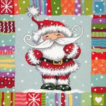 Patterned Santa - Christmas Needlepoint Kit