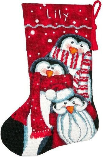 Holiday Penguin Trio Christmas Stocking - Needlepoint Kit