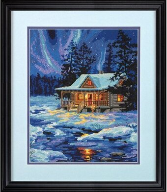 Winter Sky Cabin - Needlepoint Kit