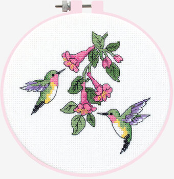 hummingbird duo learn a craft beginner cross stitch kit