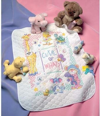Cute Or What? Baby Quilt Stamped Cross Stitch Kit
