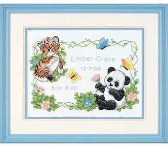 Baby Animals Birth Record - Stamped Cross Stitch Kit