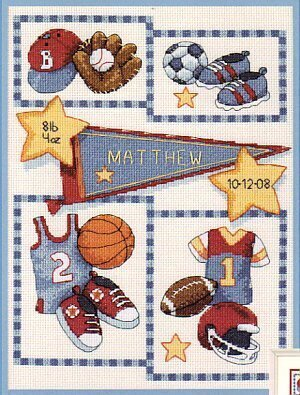 Little Sports Birth Record - Cross Stitch Kit