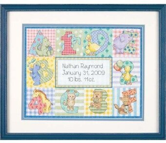 Zoo Alphabet Birth Record - Cross Stitch Kit