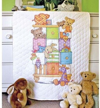 Baby Drawers Quilt - Stamped Cross Stitch Kit