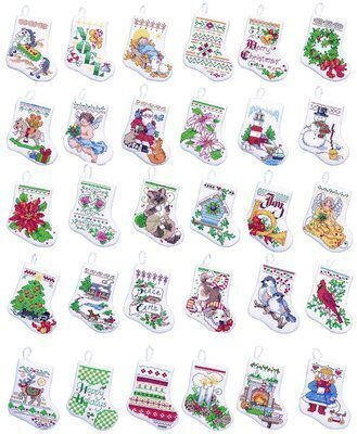 Bucilla Tiny Christmas Stocking Ornaments Counted Cross Stitch Kit ...