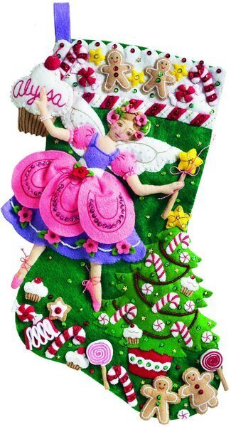 Sugar Plum Fairy Christmas Stocking - Felt Applique Kit