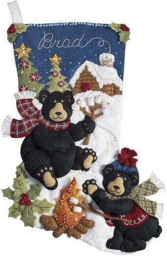 Bear Christmas Stocking.Black Bear Bonfire Stocking Christmas Felt Applique Kit