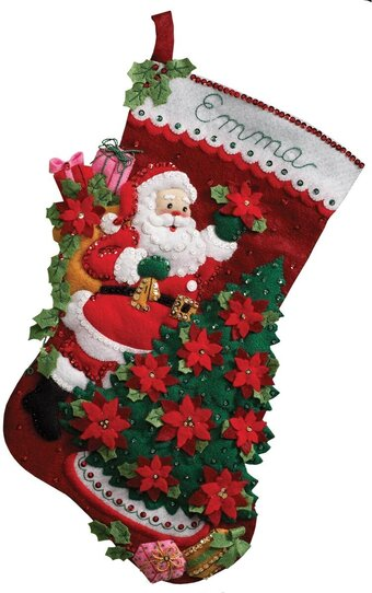 Santa Poinsettia Tree Stocking - Christmas Felt Applique Kit