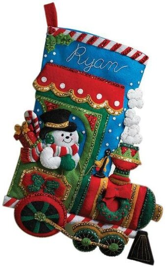 candy express christmas stocking felt applique kit