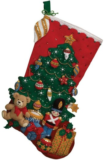 Under the Tree Christmas Stocking - Felt Applique Kit
