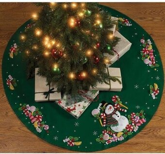 candy snowman tree skirt felt applique kit by bucilla bucilla felt tree skirts add a festive touch to any holiday decor most designs have a coordinating - Christmas Tree Decorating Ensemble Kits