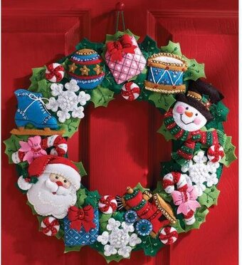 Christmas Toys Wreath - Felt Applique Kit
