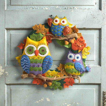 Owls Wreath - Halloween Felt Applique Kit