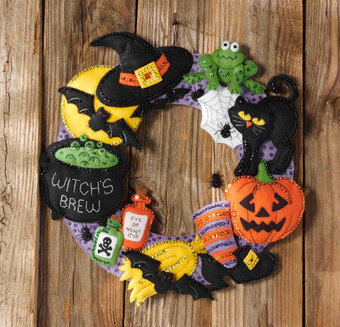 Witch's Brew Wreath - Halloween Felt Applique Kit