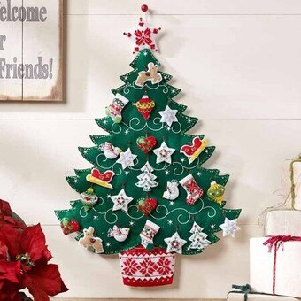 Nordic Tree Christmas Advent Calendar - Felt Applique Kit