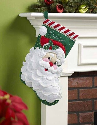 Jolly Saint Nick Christmas Stocking - Felt Applique Kit