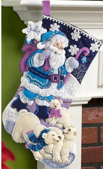 Arctic Santa Christmas Stocking - Felt Appliqe Kit