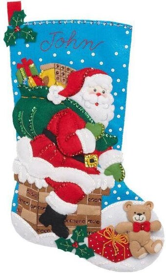 Down the Chimney Christmas Stocking - Felt Applique Kit