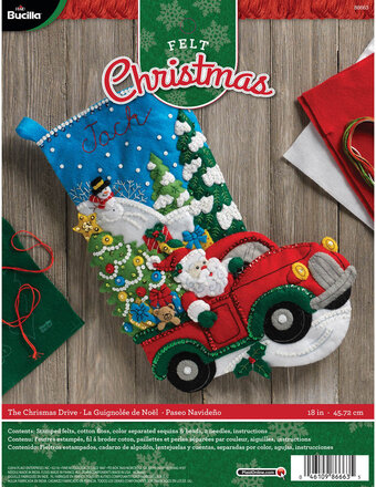 The Christmas Drive Christmas Stocking - Felt Applique Kit