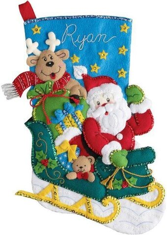 Santa's Helper Christmas Stocking - Felt Applique Kit