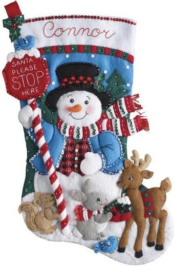 Santa Stop Here Christmas Stocking - Felt Applique Kit