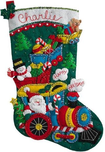Choo Choo Santa Christmas Stocking - Felt Applique Kit
