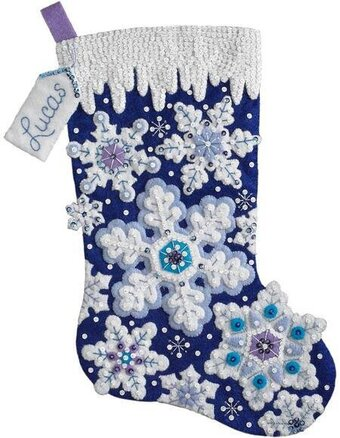Sparkle Snowflake Christmas Stocking - Felt Applique Kit
