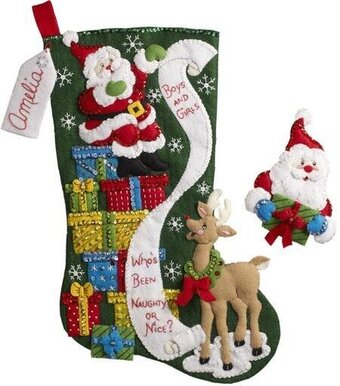 The List Christmas Stocking Felt Applique Kit
