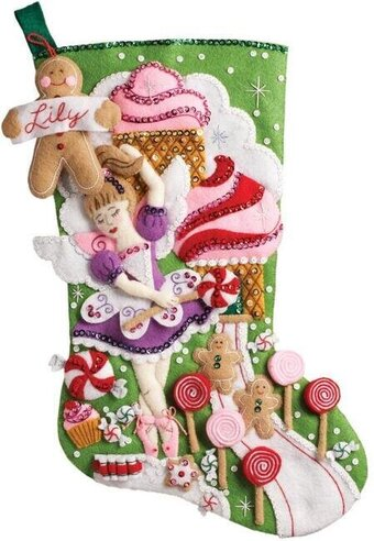 Sugarland Fairy Christmas Stocking Felt Applique Kit