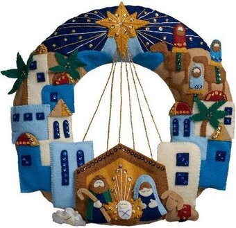 Town of Bethlehem Wreath - Christmas Felt Applique Kit