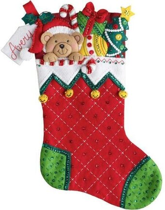 Holiday Teddy Christmas Stocking - Felt Applique Kit