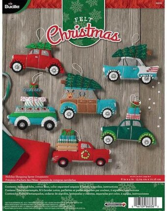Holiday Shopping Spree Christmas Ornaments Felt Applique Kit