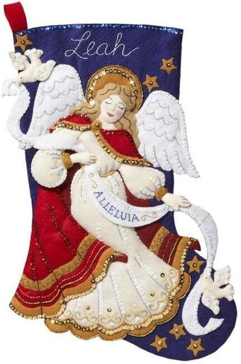 Bucilla Christmas Angel Christmas Stocking Felt Applique Kit