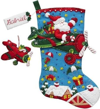 Bucilla Airplane Santa Christmas Stocking Felt Applique Kit