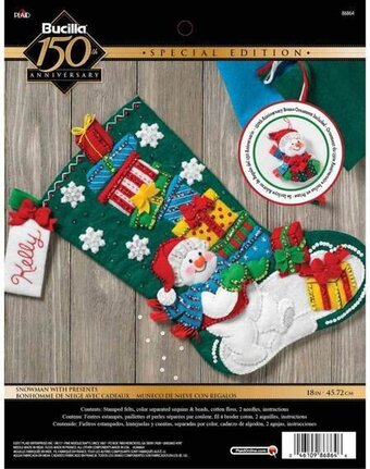 Snowman With Presents Christmas Stocking Felt Applique Kit
