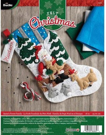 Santa's Forest Family Christmas Stocking - Felt Applique Kit