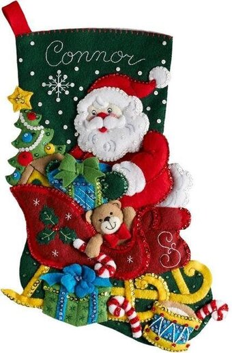 Bucilla Santa's Sleigh Christmas Stocking Felt Applique Kit