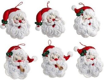 Bucilla Santa Christmas Ornaments - Felt Applique Kit
