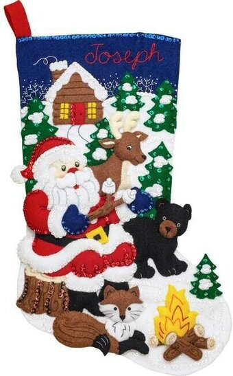 Santa's Black Bear Christmas Stocking - Felt Applique Kit