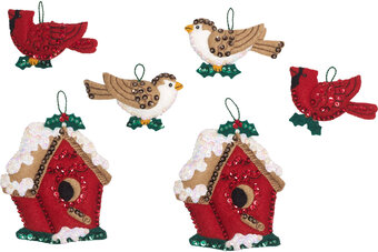 Christmas Birds - Felt Christmas Ornament Kit