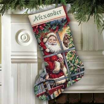 Dimensions Candy Cane Santa Stocking - Cross Stitch Kit 8778 ...