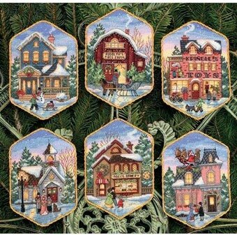 Dimensions Christmas Village Ornaments Cross Stitch Kit