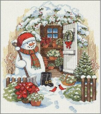 Garden Shed Snowman - Christmas Cross Stitch Kit