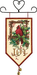 Cardinal Joy Mini Banner - Cross Stitch Kit