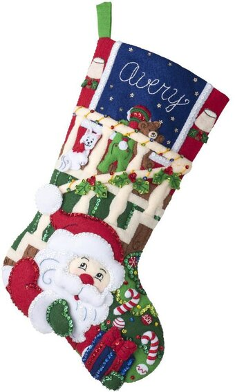 Watching For Santa - Christmas Stocking - Felt Applique Kit