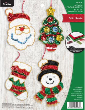 """Bucilla Felt Ornaments Applique Kit 5/""""X5/""""  Set Of 6-Santa Stop"""